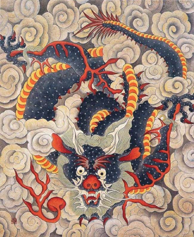 Minwha(Korean Folk art)-Blue dragon by kimsingu on DeviantArt