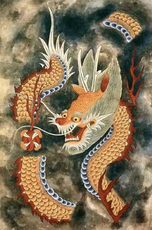 Korean Dragon: Minwha(Korean Folk Art)-Yellow Dragon By Kimsingu On