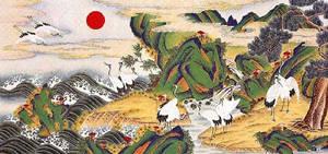 Minwha(Korean Folk art)-pines and cranes by kimsingu