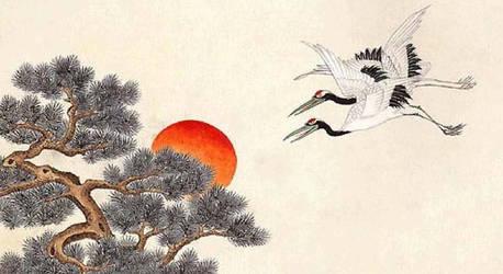Minwha(Korean Folk art)-Pines and cranes