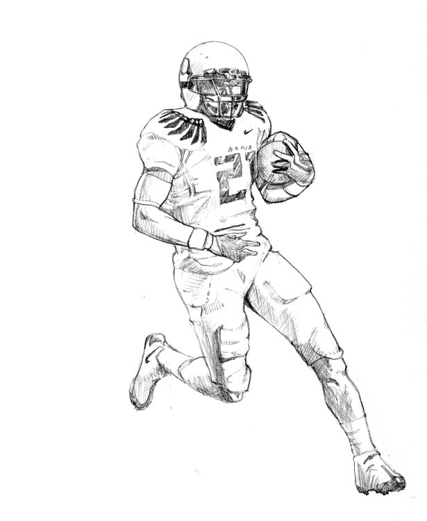 Oregon Ducks Football Player Drawings Sketch Coloring Page