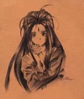 Belldandy ink portrait by ianime13