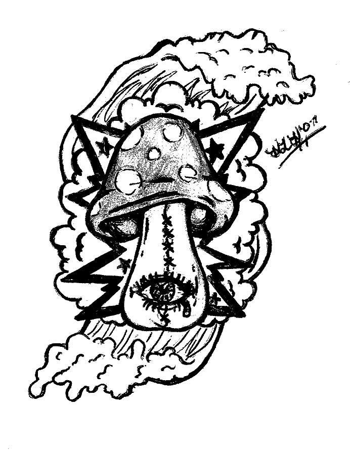My Trippy Shroom Tattoo Design - shoulder tattoo