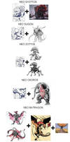 The kaijus Gladiators (for Godzilla Neo) by marcdrac2