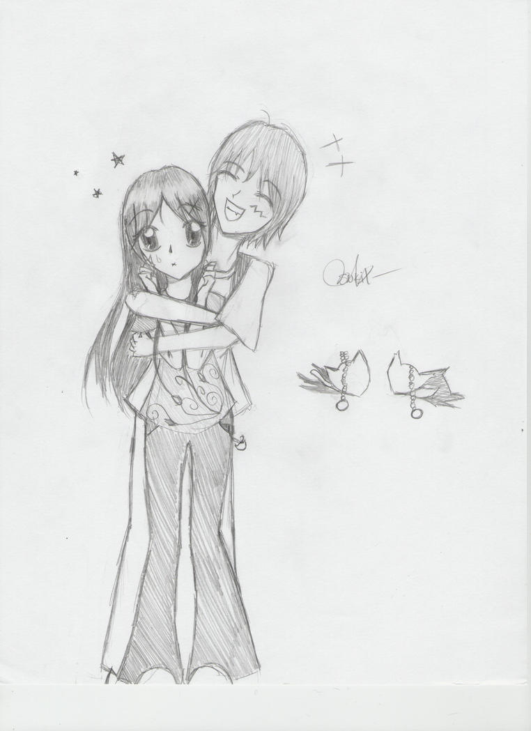 How to draw a girl and boy hugging