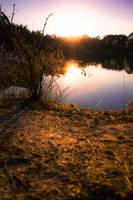 Sunset on a lake by Bijou44