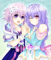 Neptunia and Pururut by AteruMichino