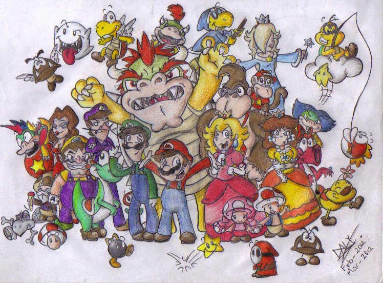 Mario Gang!! :colored: by makimi