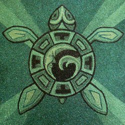 Aztec Turtle with Moon Tide