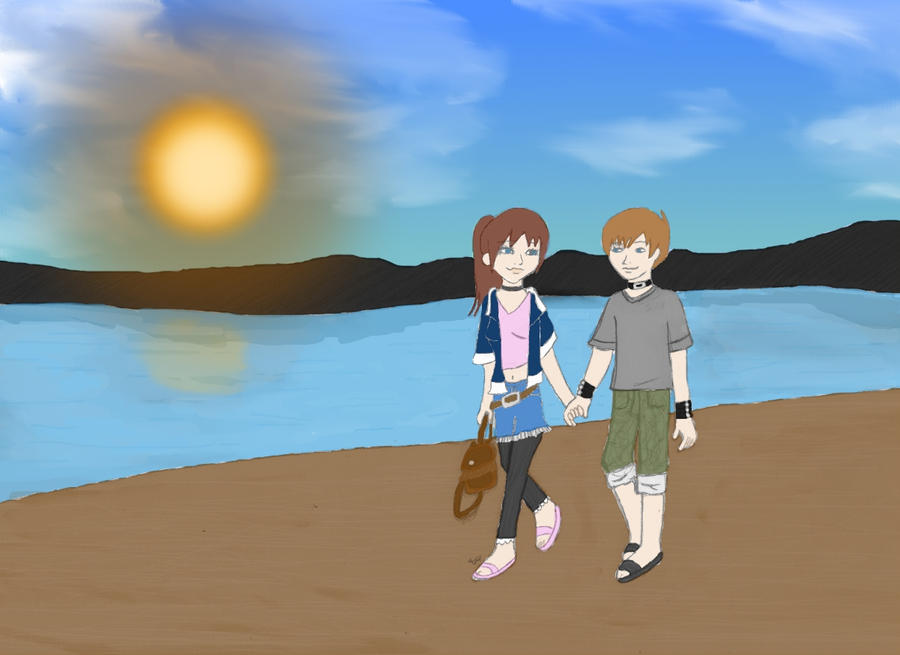 Walking on the beach by Mlie-Redfield