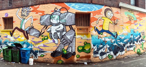 SF Rick and Morty Street Art by KushMastaFresh