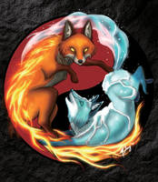 Fire and Ice Foxes by shadowsmyst