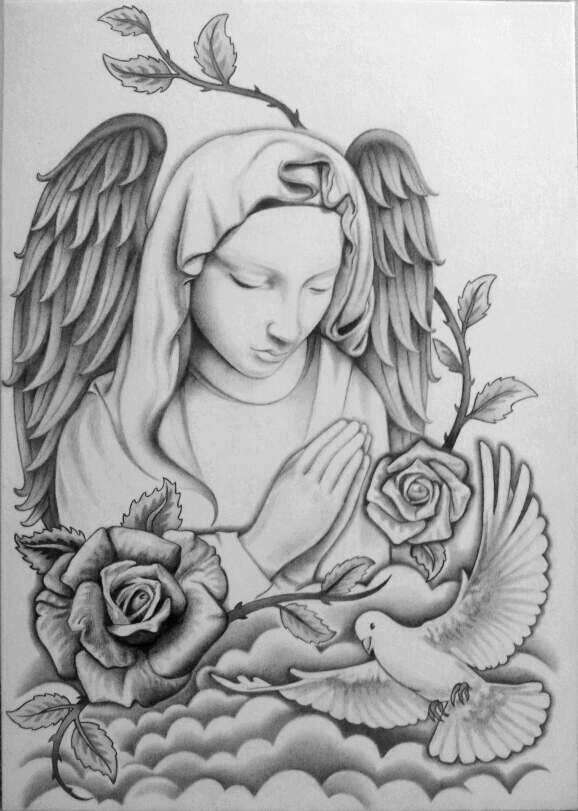 Guardian Angel Tattoo Sketches Tattoo Design by shell...