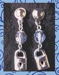 Lock earrings - blue