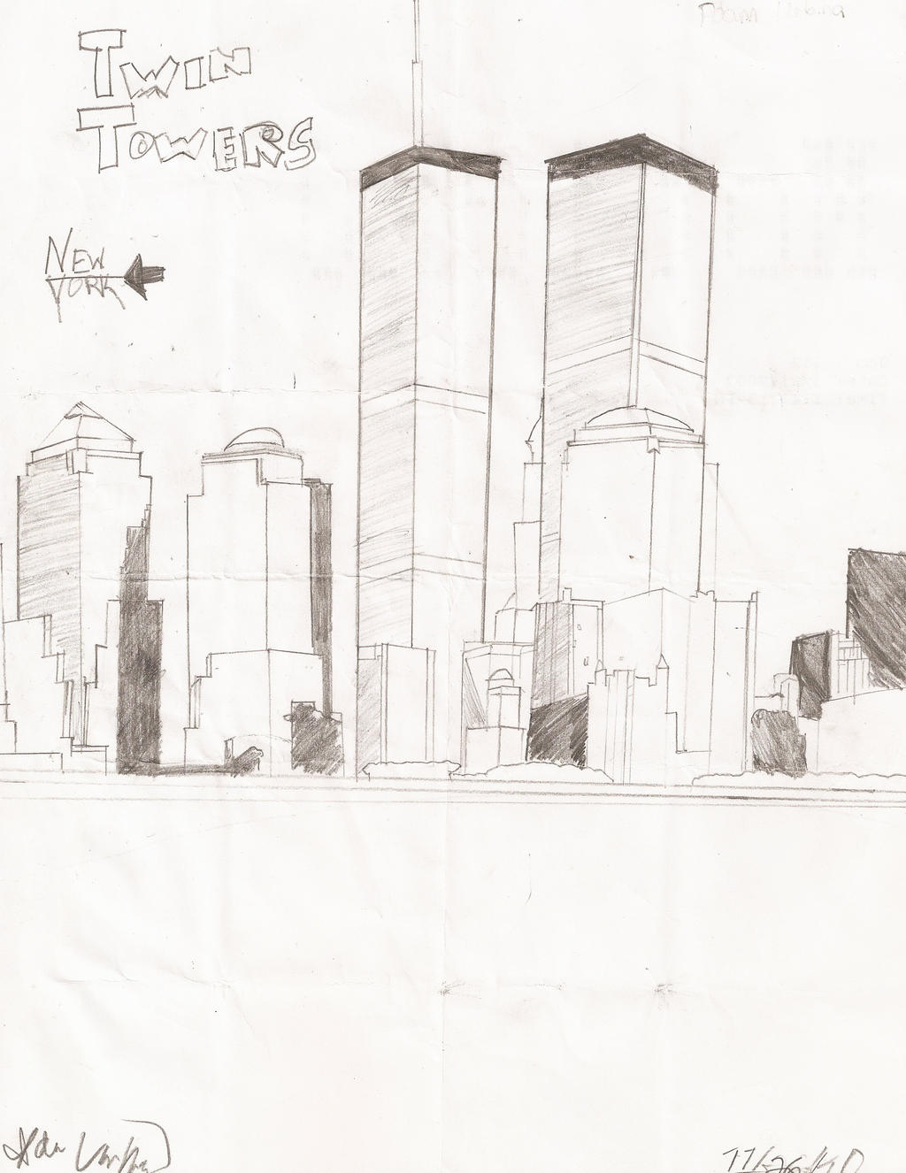 It is an image of Bewitching Twin Towers Drawing