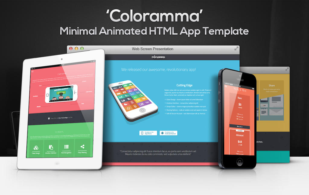 Coloramma - Minimal Animated HTML App Landing Page by gothic-crimson