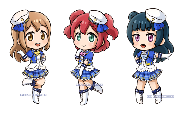 Aqours 1st year chibis by Kata-elf
