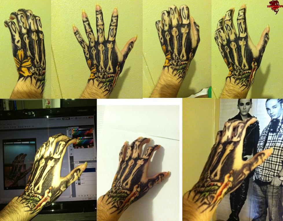 My Bill's Hand Tattoo  Bones Flower Bird by lionessgirl2007