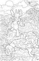 Lucario vs Zoroark- Lineart by Afroblue72
