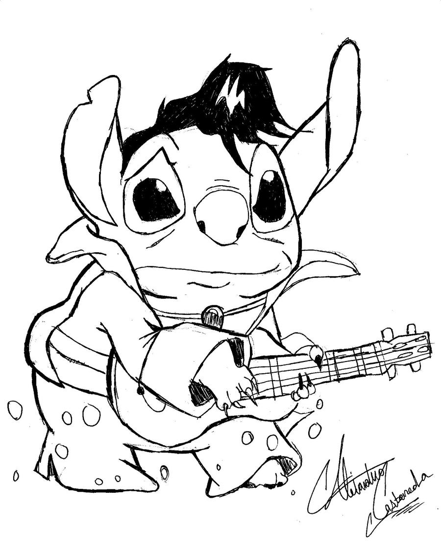 Elvis stitch by blackmagiccomicco on deviantart for Stitch coloring pages