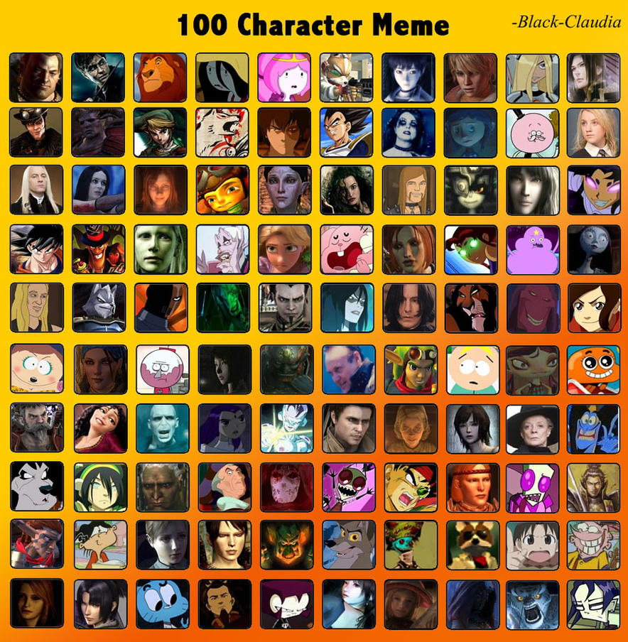 Cartoon Characters 2 100 Pics : Characters meme by black claudia on deviantart