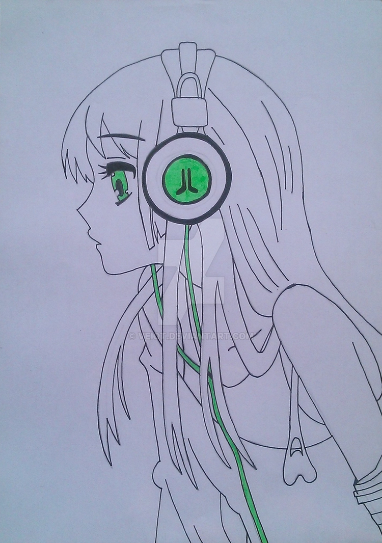 Anime Girl With Headphones By Veiot On Deviantart