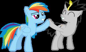 Strat and Rainbow Dash by StratMLP