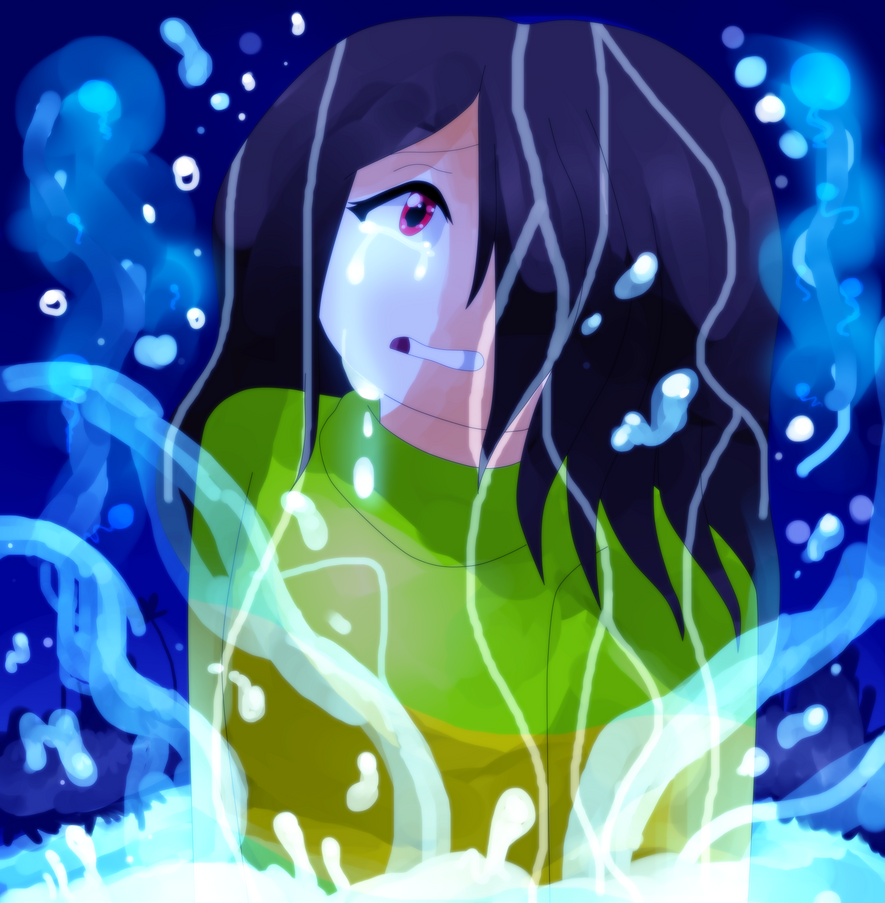 Chara in the Waterfall by Hexblaster
