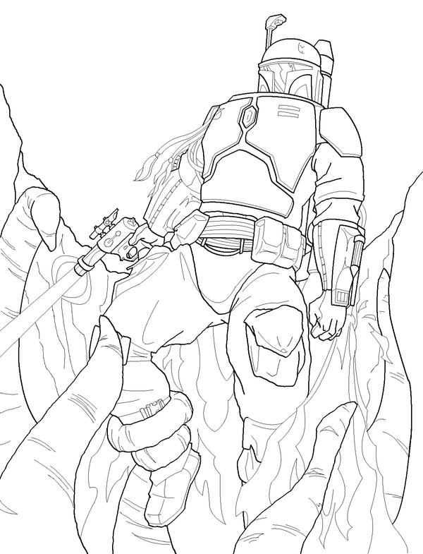 Boba Fett WIP - ink by TravisTheGeek