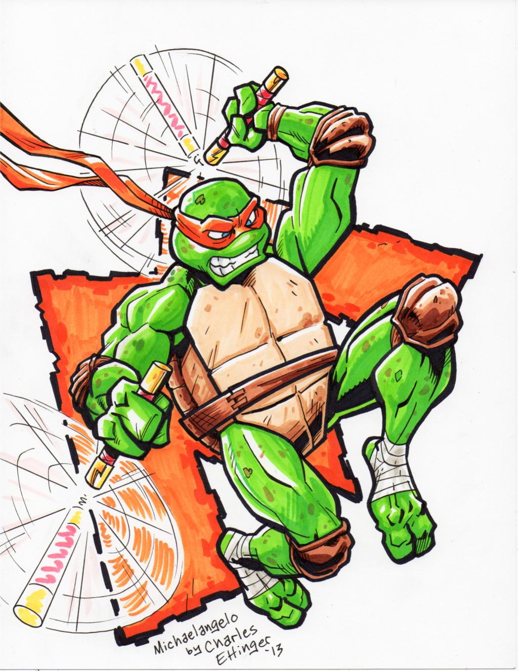Ninja turtle michelangelo drawing - photo#1
