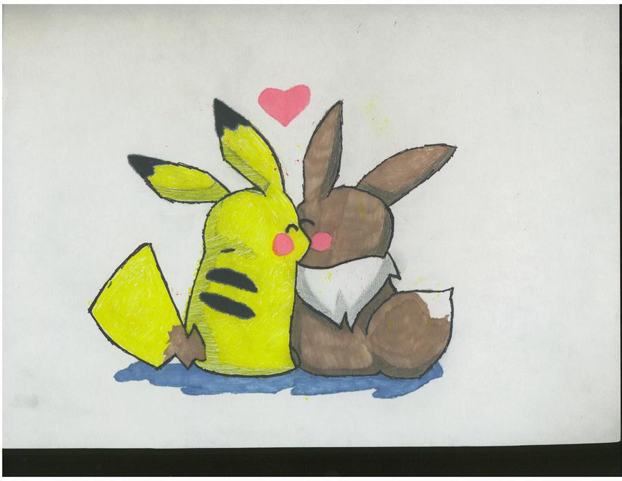 Pokemon Pikachu And Eevee Love