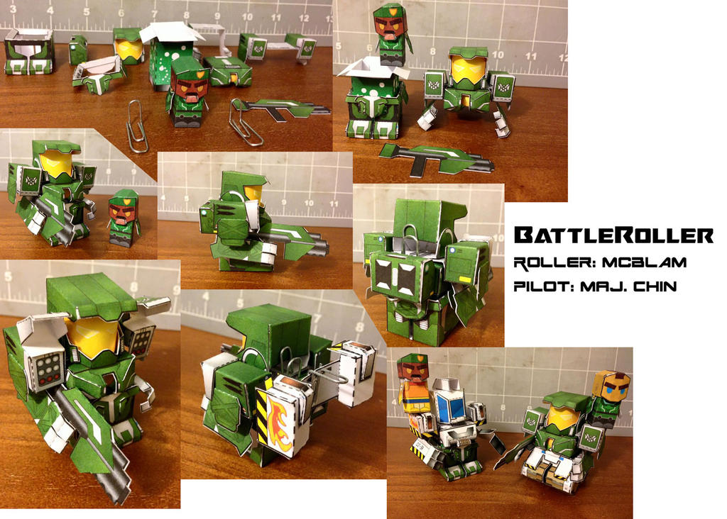 BattleRoller: McBLAM and Maj. Chin papercraft mini by wulongti