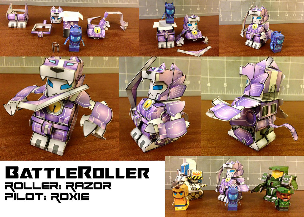 BattleRoller: Razor and Roxie papercraft mini by wulongti
