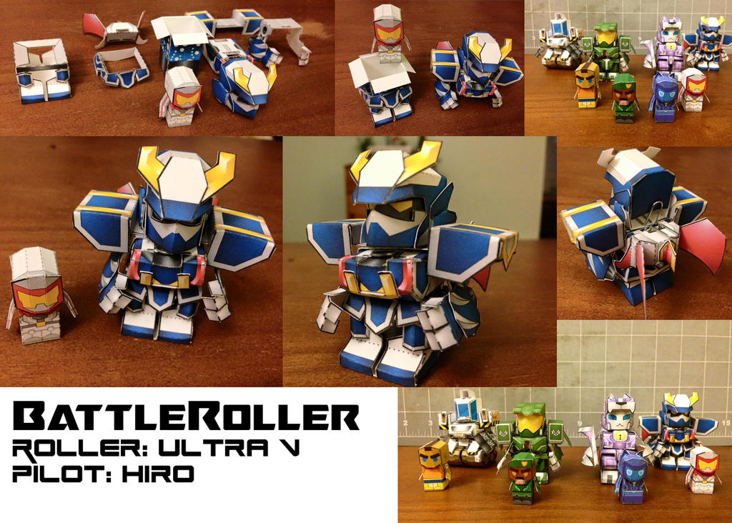 BattleRoller: Ultra V and Hiro papercraft mini by wulongti