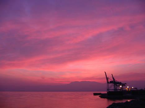 Rijeka sky with cranes