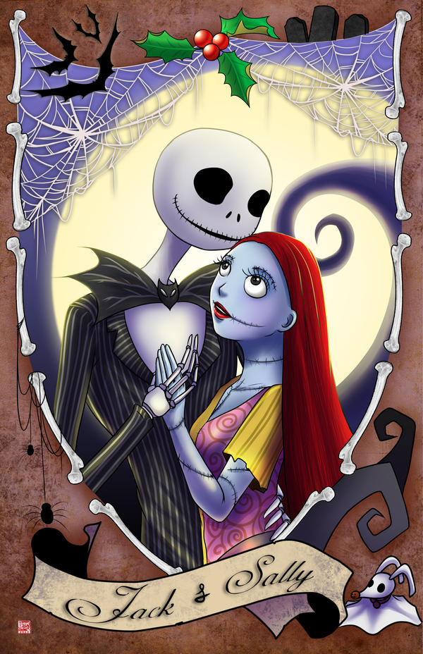 how to draw jack skellington and sally together