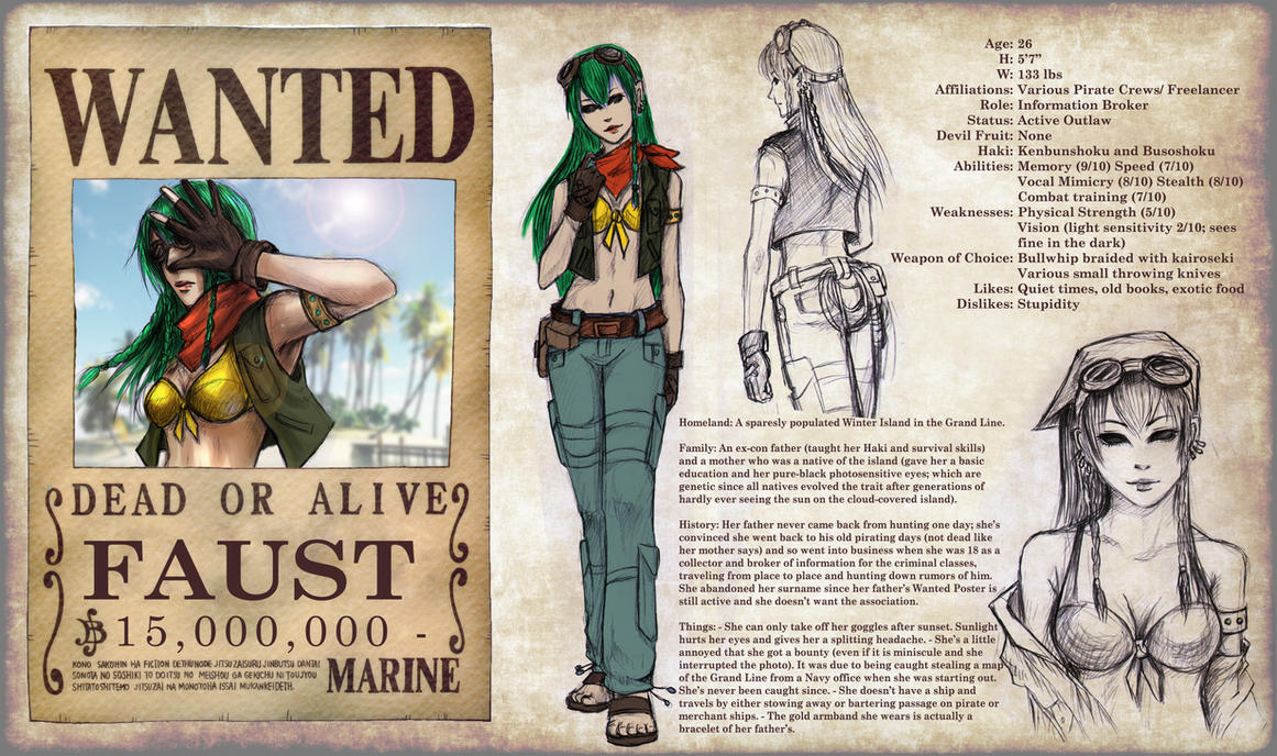 Character Design Nait : One piece oc sheet faust by tyrinecarver on deviantart