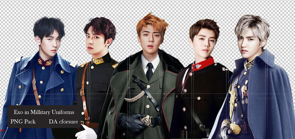 PNG Pack- EXO in Millitary Unifrorms by cforsure