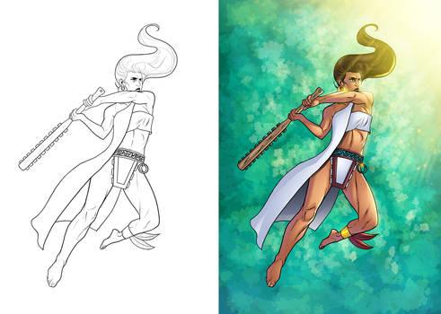 Aztec Warrior Coloring 2