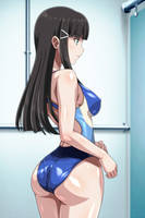 Anime girl in one piece swimsuit by demongirl289