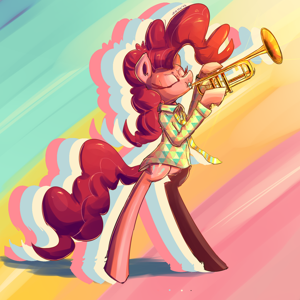 Pink horse playing trumpet. by SenxShine