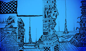 Druillet style practice towers 1 by KingNot