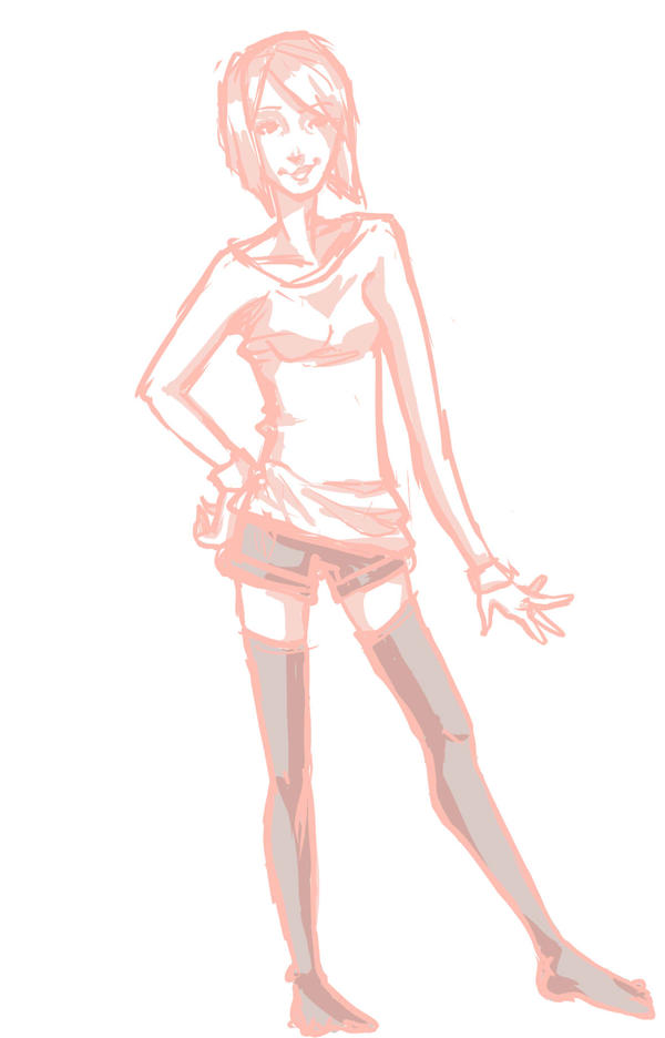 This is an image of Universal Hands On Hips Pose Drawing