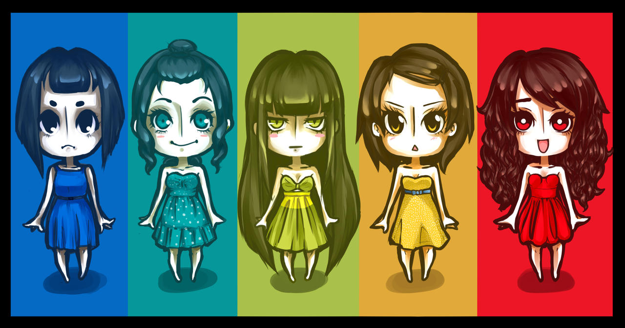 Rainbow chibis by Cayys