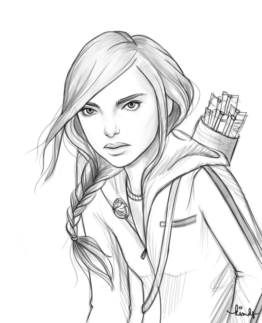 Katniss Everdeen Cartoon Drawing Sketch Coloring Page