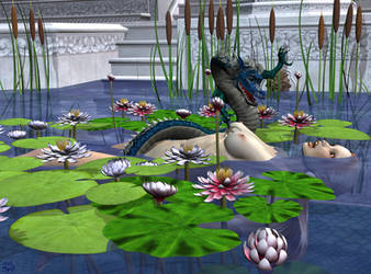 Happy Joy Dragon Bath by parkerunfolded