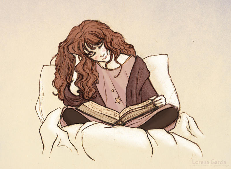 Hermione Reading before Bed