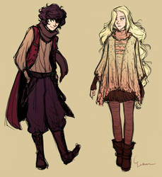 Winter outfits design: Rogier and Suzzen by Simbelmina