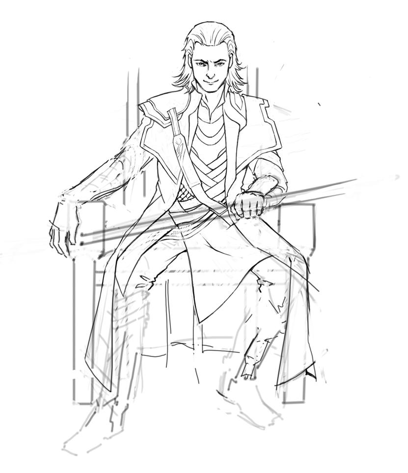 Loki wip 2 by cyannfanart on deviantart for Marvel thor coloring pages