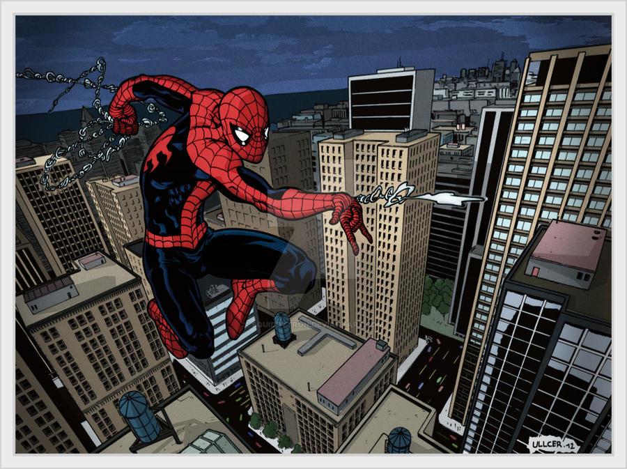 Spiderman web swinging